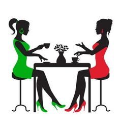 Two women drinking coffee at a table vector image
