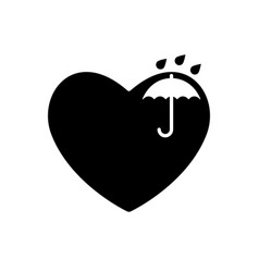 Umbrella and heart black icon keep dry symbol in vector