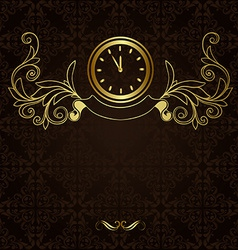 Vintage background with ornament and hours vector image