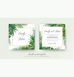 Wedding tropical greenery double invite card vector