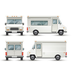 White blank food car commercial truck isolated vector