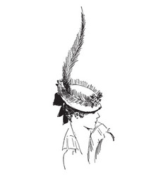 Wraps around the top of the hat vintage engraving vector