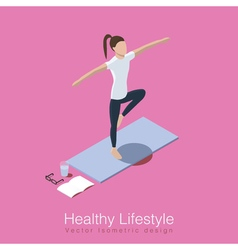 Yoga healthy life scene vector
