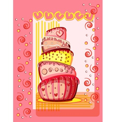 Bright birthday cake Postcard with place for your vector image vector image