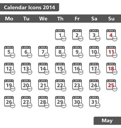 May 2014 Calendar Icons vector image vector image