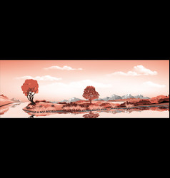 panorama of nature-the island in the lake vector image vector image