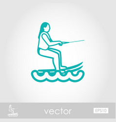 Water skiing outline icon summer vacation vector