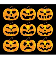 Set of halloween pumpkins vector image