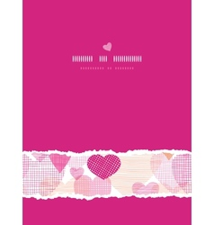 Textured fabric hearts vertical seamless pattern vector image vector image