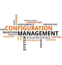 word cloud - configuration management vector image vector image