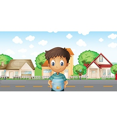 A boy with an aquarium standing across the vector image vector image