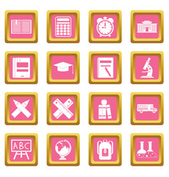 school icons pink vector image