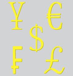 Symbol money set golden vector image
