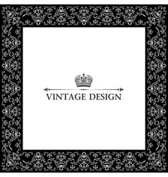 vector vintage royal retro frame ornament black vector image vector image
