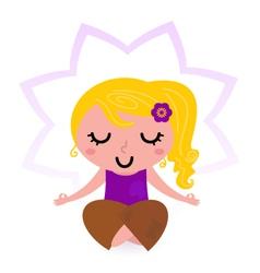Yoga girl practicing meditation vector image