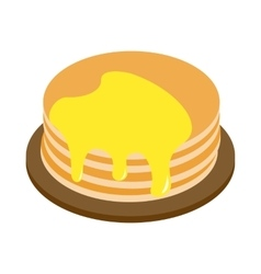 A stack of pancakes with honey isometric 3d icon vector image vector image