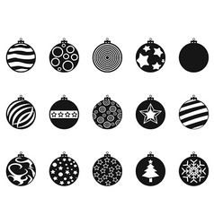 black Christmas ball christmas bauble icons set vector image vector image