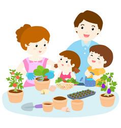 family planting healthy organic vegetable cartoon vector image vector image