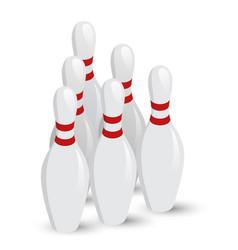 isometric white skittles for bowling vector image
