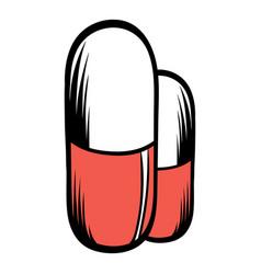 medical capsule icon cartoon vector image vector image