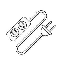 pictogram electric extension cord cable and plug vector image