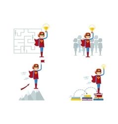 set of superwomen female sucsess vector image