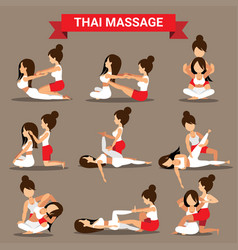 set of thai massage positions design for healty vector image vector image