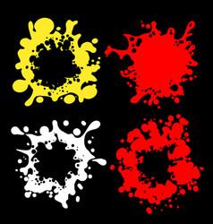 splashes shape silhouettes on black vector image