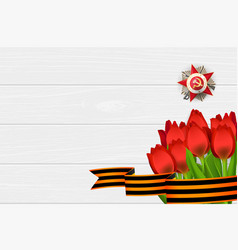 9 may wooden board st george ribbon vector image