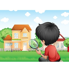 A boy with a magnifying glass studying the grasses vector