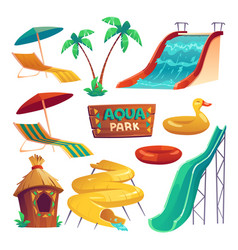 aqua park with water slides and inflatable rings vector image