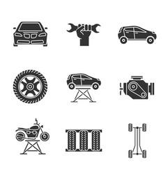 auto workshop glyph icons set vector image