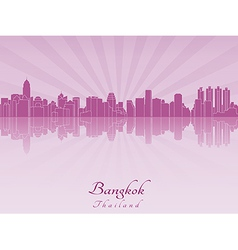 Bangkok skyline in purple radiant orchid vector