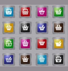 basket glass icons set vector image