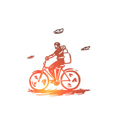 bicycle travel ride activity concept vector image