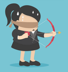 blindfolded businesswomen are shooting arrows vector image