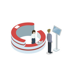 Business center reception isometric 3d element vector