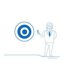 businessman arrow hitting target center of vector image