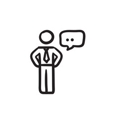 Businessman with a speech square sketch icon vector