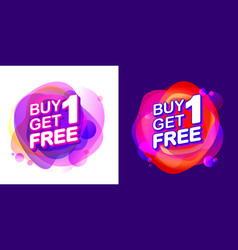 Buy 1 get 1 free sale tag with fluid pink neon vector