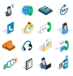 Call center icons set isometric 3d style vector image