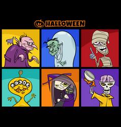 cartoon halloween funny scary characters set vector image