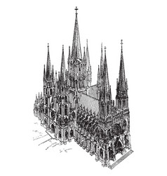 Cathedral pointed towers vintage engraving vector