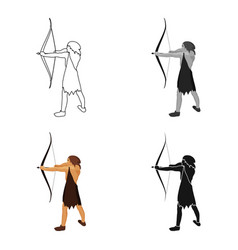 Caveman with bow and arrow icon in cartoon style vector