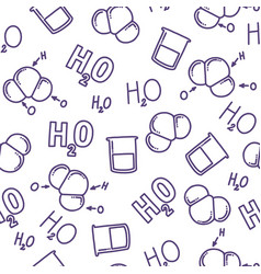 Chemical seamless pattern with h2o molecule vector