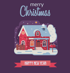 Christmas card with farm winter house by night vector