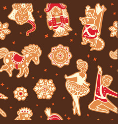 Christmas gingerbread seamless pattern with with vector