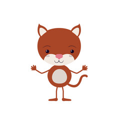 colorful caricature of cute kitten happiness vector image
