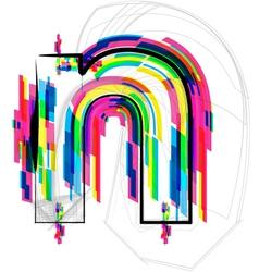 Colorful Font - Letter n vector image