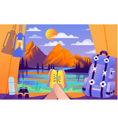 Colourful of camping for vector